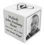 White Marble Infant Child Cube Cremation Urn with Engraved Photo