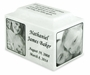 White Marble Infant Child Small Cremation Urn with Engraved Photo
