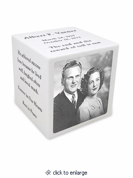 White Marble Keepsake Cube Cremation Urn with Engraved Photo