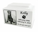 White Marble Large Pet Cremation Urn with Engraved Photo