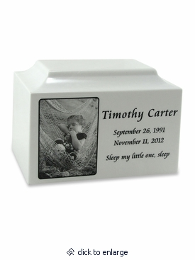 White Marble Medium Cremation Urn with Engraved Photo