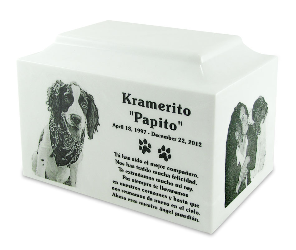 Marble Standard Size Pet Cremation Urn with Engraved Photo
