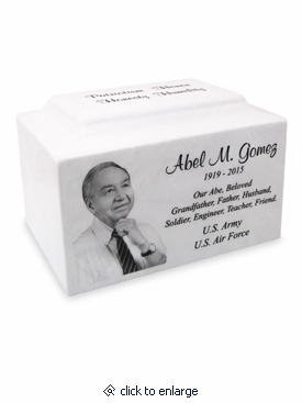 White Marble Standard Cremation Urn Vault with Engraved Photo