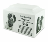 White Marble Standard Size Pet Cremation Urn with Engraved Photo