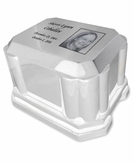 White Marble Urn Burial Vault with Photo Option