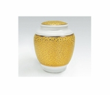 Yellow And Golden Accented Classica Porcelain Keepsake Cremation Urn
