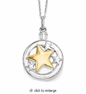 Your Brightest Star Sterling Silver & Gold-plated Cremation Jewelry Necklace