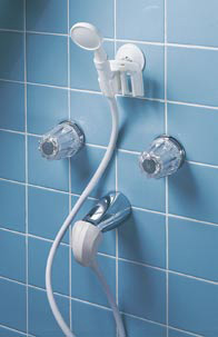 hand held portable shower converts tub spout to a shower. Black Bedroom Furniture Sets. Home Design Ideas