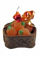 Chocolate Basket with Fancy Jelly Pumpkins - 4 oz.