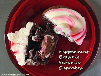 Peppermint Brownie Surprise Cupcakes