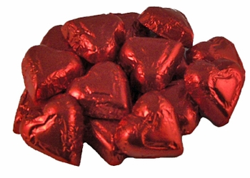 Milk Chocolate Red Foil Hearts - 1/2 lb.