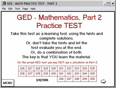 GED 2002 Math Test Part 2