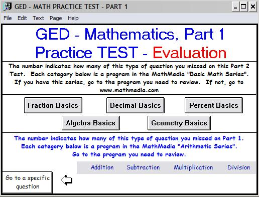 GED Practice Test Math Part 1 - EVALUATION