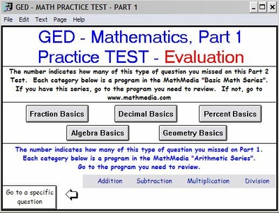 GED Practice Test<br>Math Part 1 - EVALUATION
