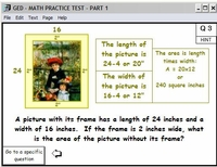 Hints and Solutions are available<br>for each GED Practice Test Question