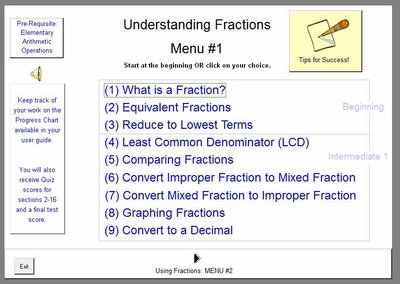 MENU Screen #1: Understanding Fractions