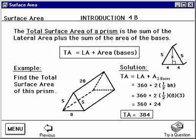 "Program 5: ""Area"" with Surface Area"