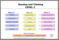 Reading and Critical Thinking - Level 3 <br>Reading Comprehension Software<br>Advanced level