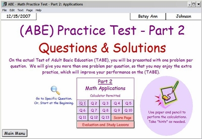 TABE Math - Part 2 -  Applications<br>With Calculator