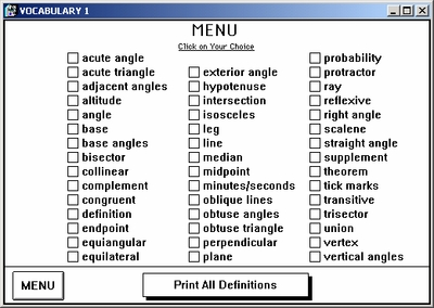 Vocabulary menu helps you find definitions quickly!