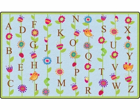 Blooming Alphabet Educational Classroom Rug