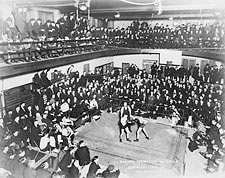 1920s Boxing Exhibition at a YMCA Photo Print for Sale