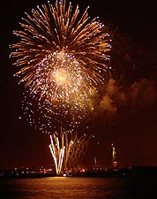 4th of July Fireworks Near Statue of Liberty in NYC Photo Print for Sale