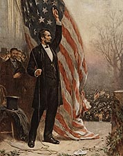 Abraham Lincoln with American Flag Painting Photo Print for Sale