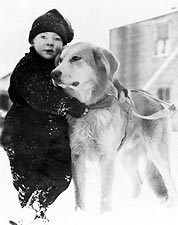 Alaskan Boy w/ Dog in Alaska Early 1900s Photo Print for Sale