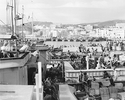 American G.I. Soldiers on Ship, Italy WWII Photo Print