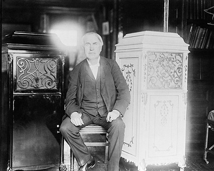 American Inventor Thomas Edison With Phonograph Photo Print