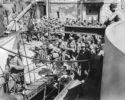 American Soldiers Boarding Ship, Italy WWII Photo Print