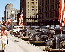 Antique Cars in Town Lincoln, Nebraska 1942 Photo Print for Sale