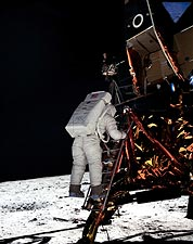 Apollo 11 Buzz Aldrin on Lunar Ladder Photo Print for Sale