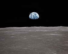 Apollo 11 Earth Rising Over Lunar Surface Photo Print for Sale