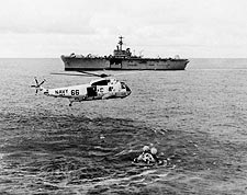 Apollo 13 Recovery Helicopter & USS Iwo Jima Photo Print for Sale