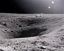 Apollo 16 Plum Crater & LRV on Moon Surface Photo Print for Sale