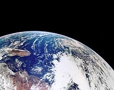 Apollo 16 View of Earth From Space Photo Print for Sale