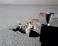 Apollo 17 Rover & American Flag from LM Photo Print for Sale