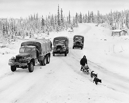 Army & Dogsled on Alcan Highway Alaska WWII Photo Print