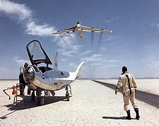 Bill Dana & HL-10 on Lakebed w/ B-52 Flyby Photo Print for Sale