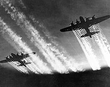 Boeing  B-17 Flying Fortress w/ Contrails Photo Print for Sale