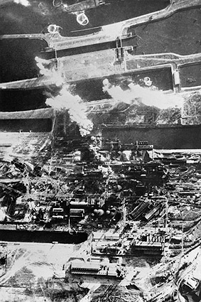 Bombing of Netherlands Aerial View WWII Photo Print