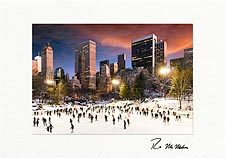 Central Park Wollman Sunset Ice Skating Personalized Christmas Cards