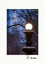 Chrysler Building Vintage Street Lamp Personalized NYC Christmas Cards