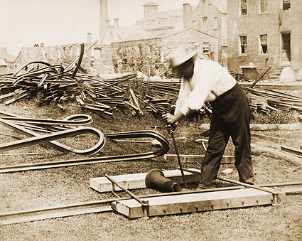 Civil War Railroad Worker Repairing Track Photo Print