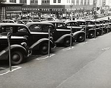 Classic Cars Parked Next to Meters 1930s  Photo Print for Sale