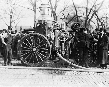 Classic Firefighters w/ Early Fire Engine Photo Print