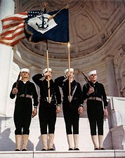 Color Guard with Navy Battalion Flag, WWII Photo Print for Sale