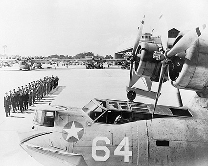 Consolidated PBY Catalina & French Troops WWII Photo Print